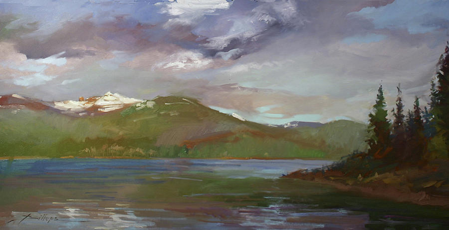Murals Painting - Chimney Rock  At Priest Lake  Plein Air by Betty Jean Billups