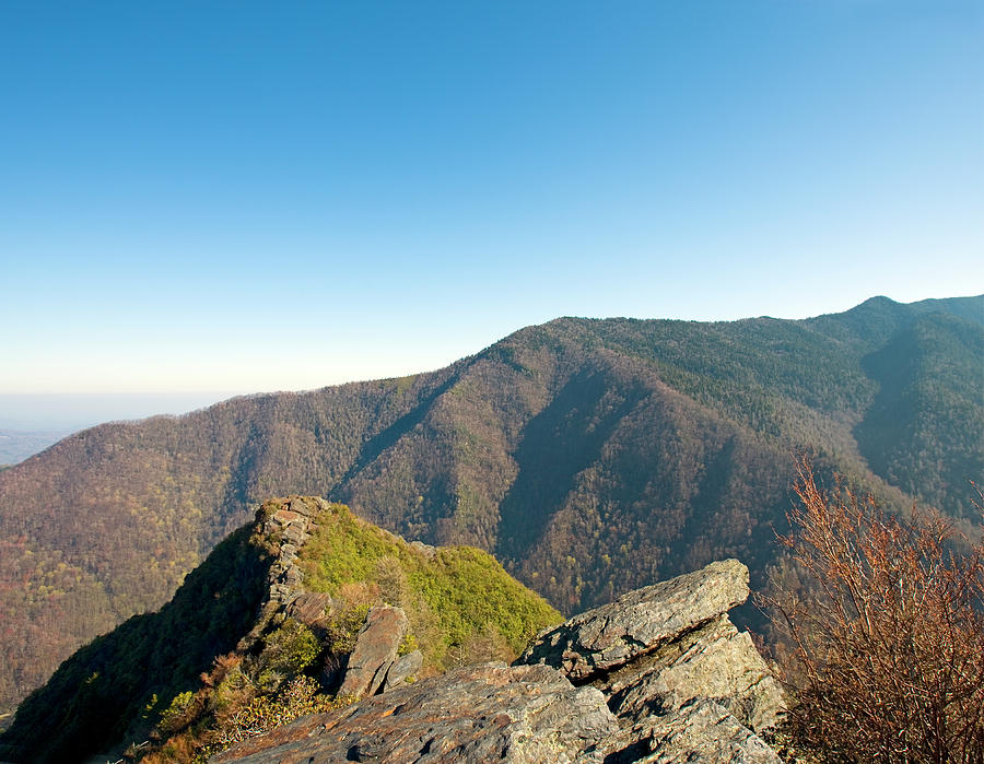 chimney Tops  Photograph - Chimney Tops Vista In Great Smoky Mountain National Park Tennessee by Brendan Reals