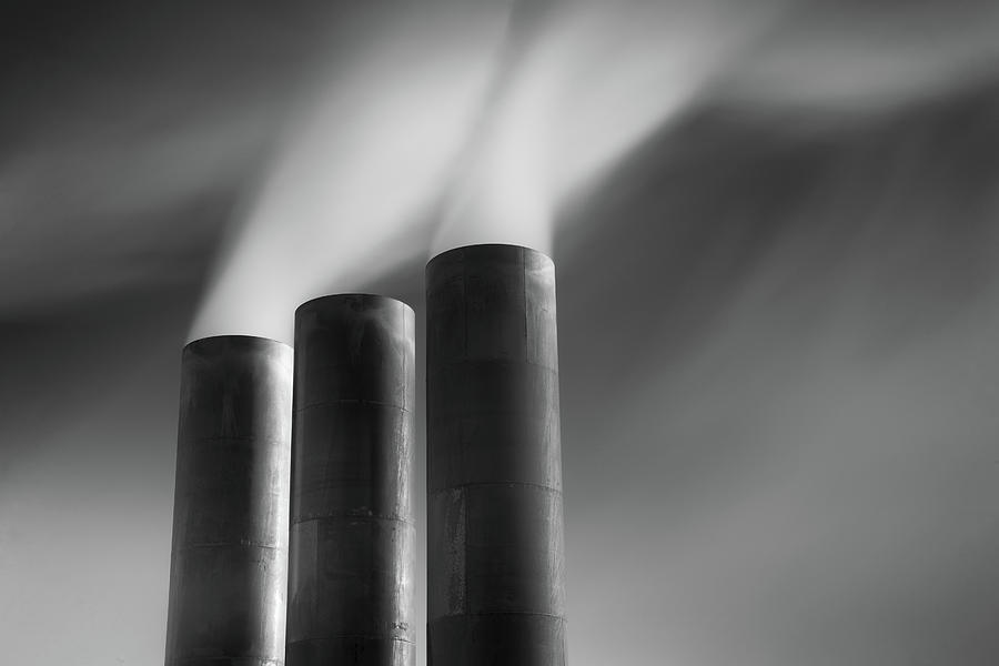 Horizontal Photograph - Chimneys Billowing by Mark Voce Photography