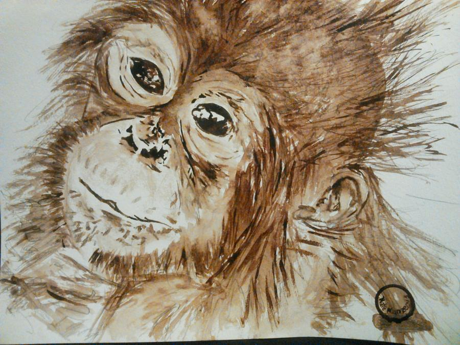 Monkey Painting - Chimp by Nathanael Manzer