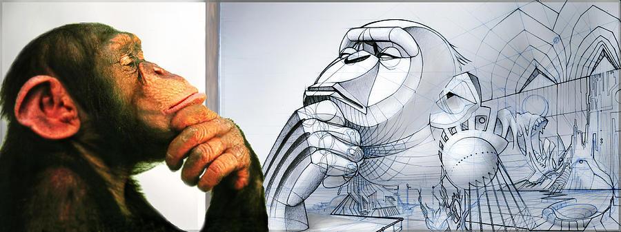 Chimp Digital Art - Chimps Dont Draw by Nicholas Bockelman