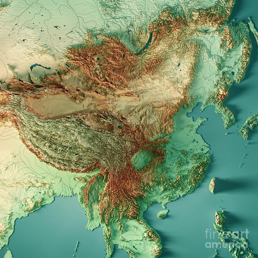 Topographic Map Of China China 3D Render Topographic Map Color Digital Art by Frank