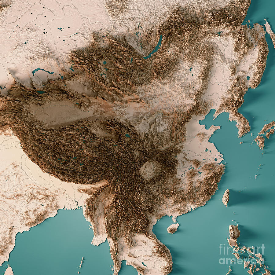 China 3d Render Topographic Map Neutral Digital Art By Frank