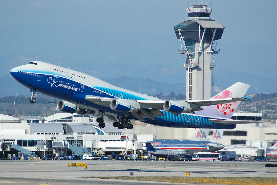 Airplane Photograph - China Airlines Boeing 747 Dreamliner Lax by Brian Lockett
