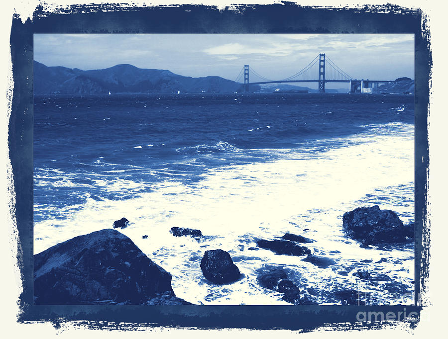 San Francisco Photograph - China Beach And Golden Gate Bridge With Blue Tones by Carol Groenen