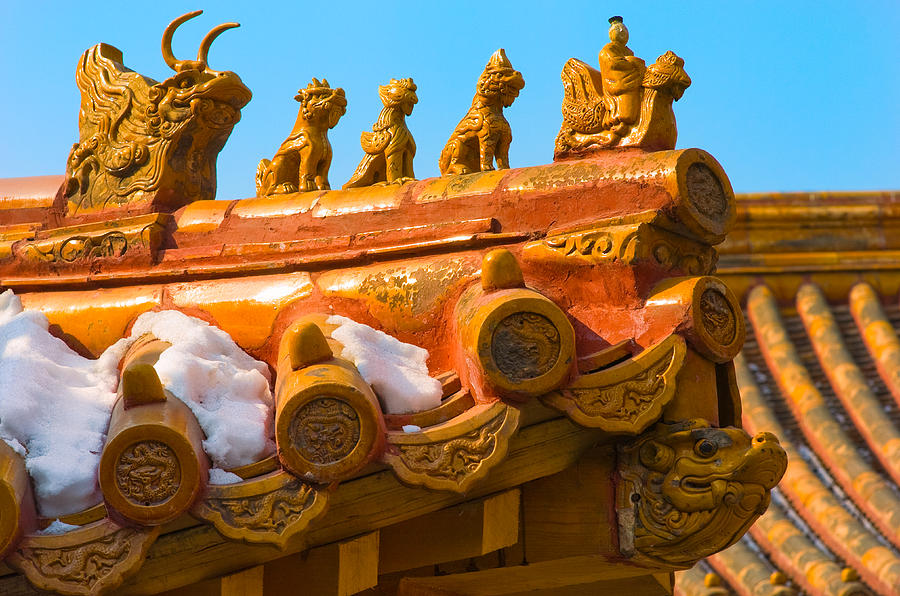 China Photograph - China Forbidden City Roof Decoration by Sebastian Musial