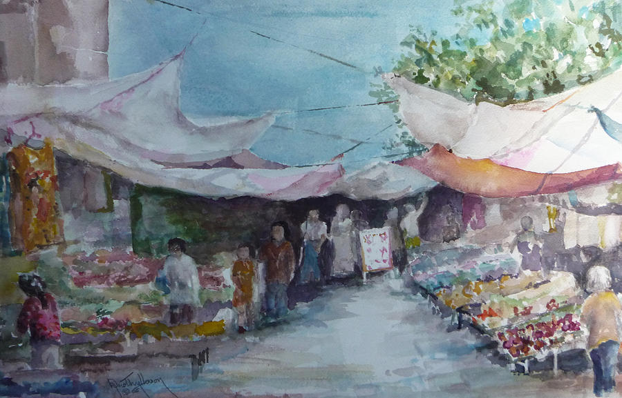 China Painting - China Market Place by Dorothy Herron