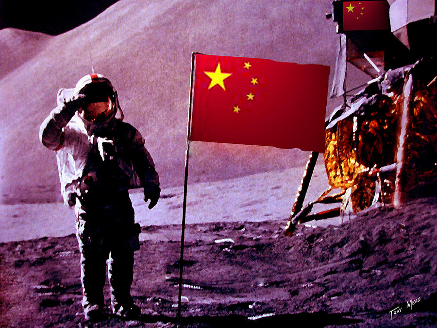 China Painting - China On The Moon by Tray Mead