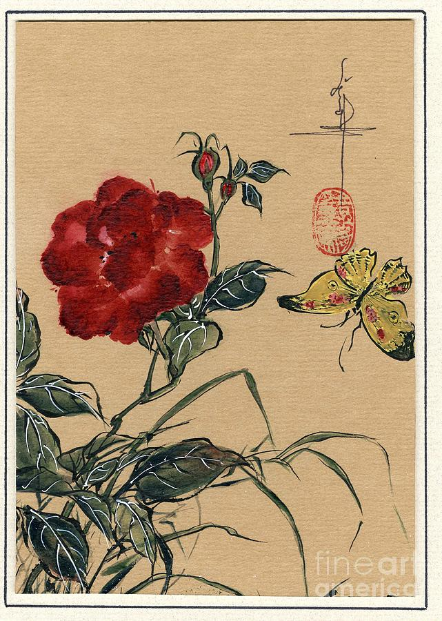 Rose Painting - China Rose And Butterfly by Linda Smith