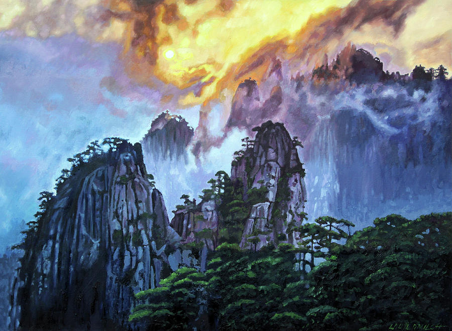 Mountains Painting - Chinas Mountains Seven by John Lautermilch