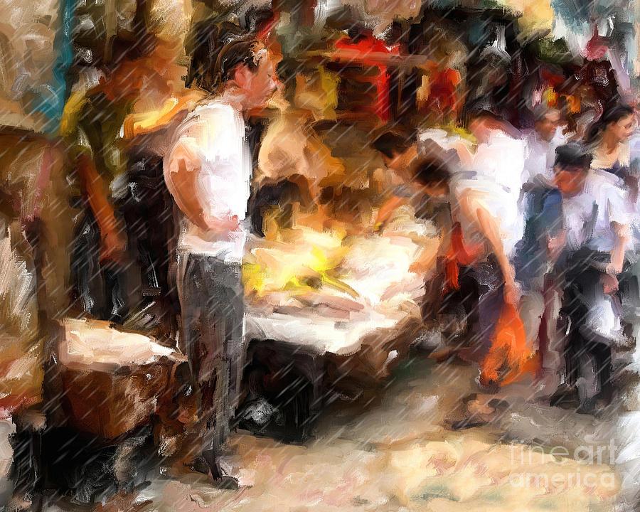 Chinatown Mixed Media - Chinatown Rain by Marilyn Sholin
