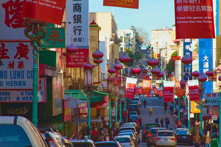 Chinatown Photograph - Chinatown Street Scene by Bonnie Follett