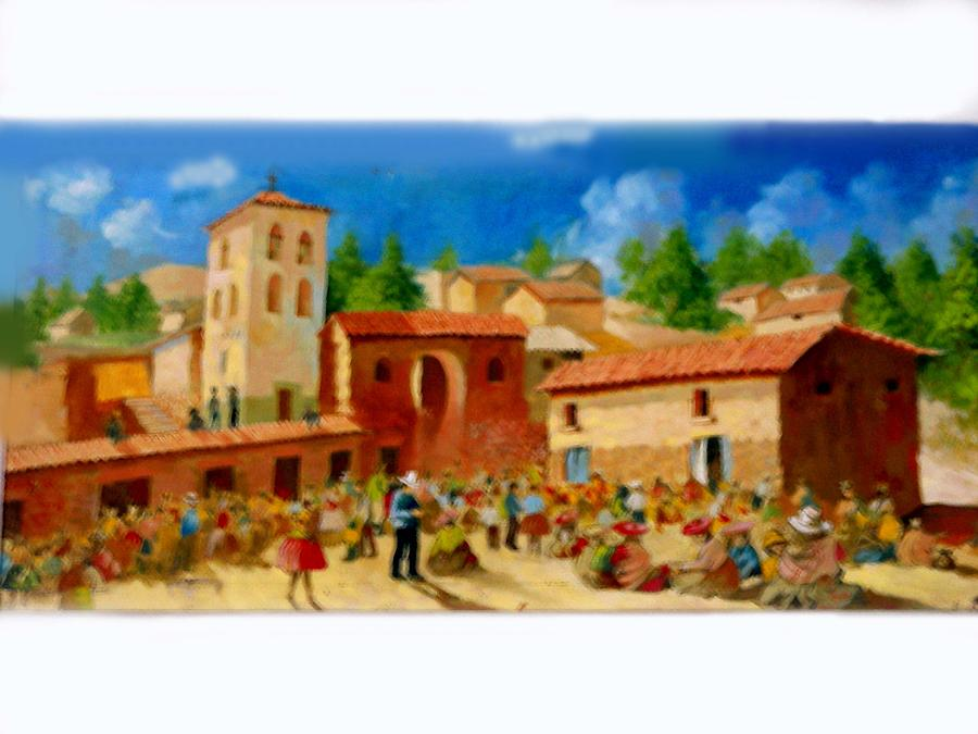 Landscape Painting - chincheros of Market by Victor Cuya