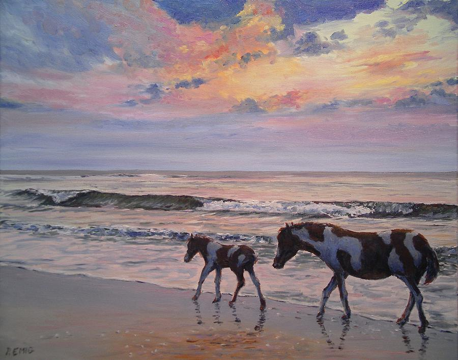 Horses Painting - Chincoteague Horses by Paul Emig