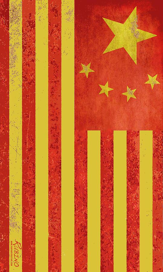 China Flag Painting - Chinese American Flag Vertical by Tony Rubino