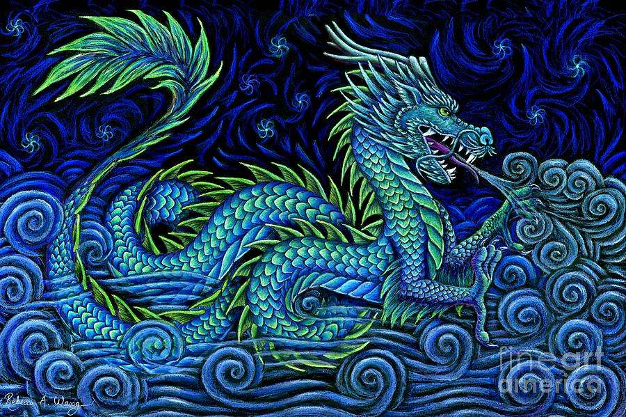 Chinese Dragon Pastel - Chinese Azure Dragon by Rebecca Wang