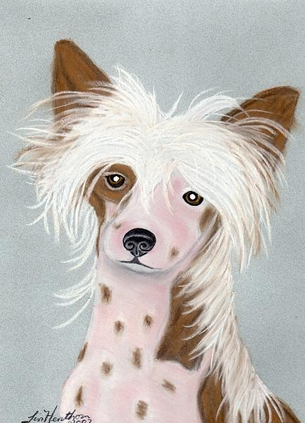 Dog Painting - Chinese Crested by Linda Henthorn