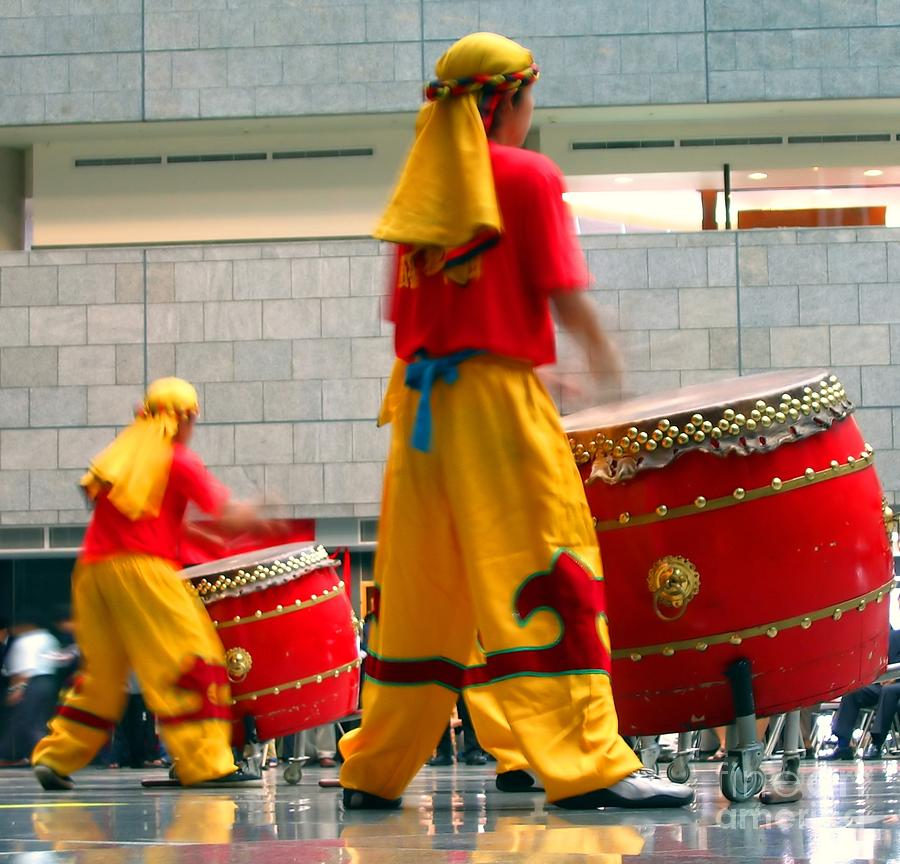 Tagu Photograph - Chinese Drummers At Work by Yali Shi