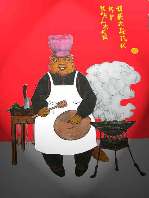 Satirical Greeting Card - Chinese Food by Rae Chichilnitsky