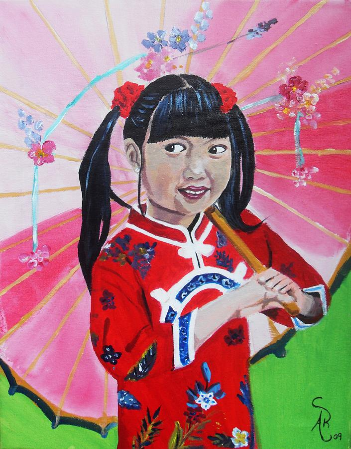Girl Painting - Chinese Girl by Andrea Realpe
