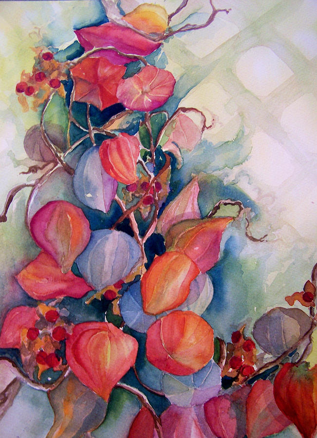 Nature Painting - Chinese Lanterns by Sandy Collier