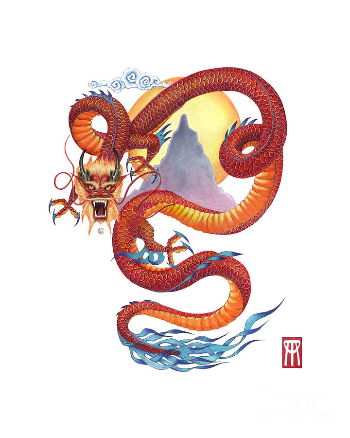 Chinese Red Dragon Painting By Melissa A Benson