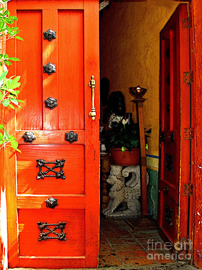 Tlaquepaque Photograph - Chinese Red Shop Door by Mexicolors Art Photography