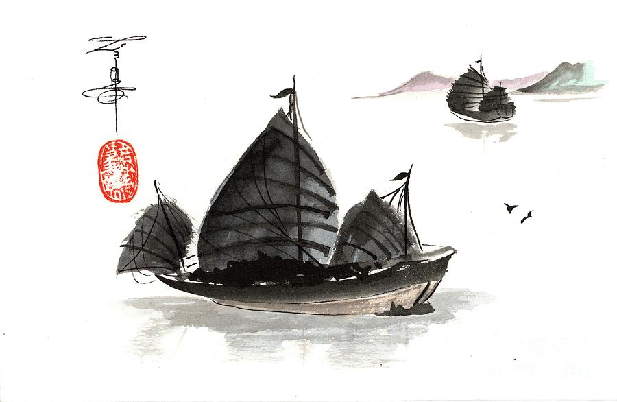 Boat Painting - Chinese Sails by Linda Smith