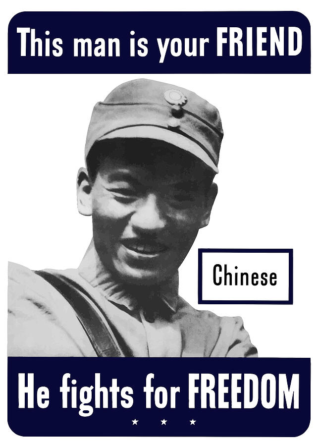 Chinese Soldier Painting - Chinese This Man Is Your Friend by War Is Hell Store