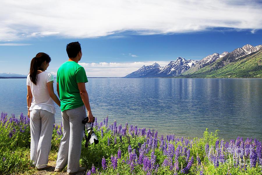 Chinese Tourists, Grand Tetons Photograph