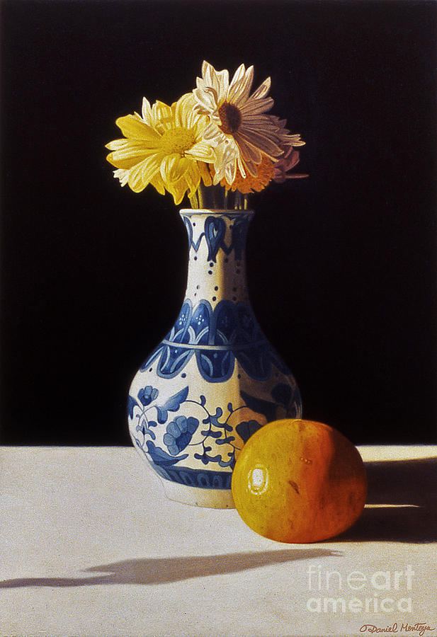 Painting Painting - Chinese Vase And Orange by Daniel Montoya