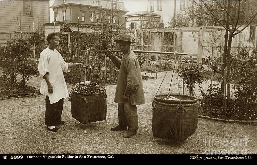 Chinese Photograph - Chinese Vegtable Pedler In San Francisco Circa 1880 by California Views Archives Mr Pat Hathaway Archives