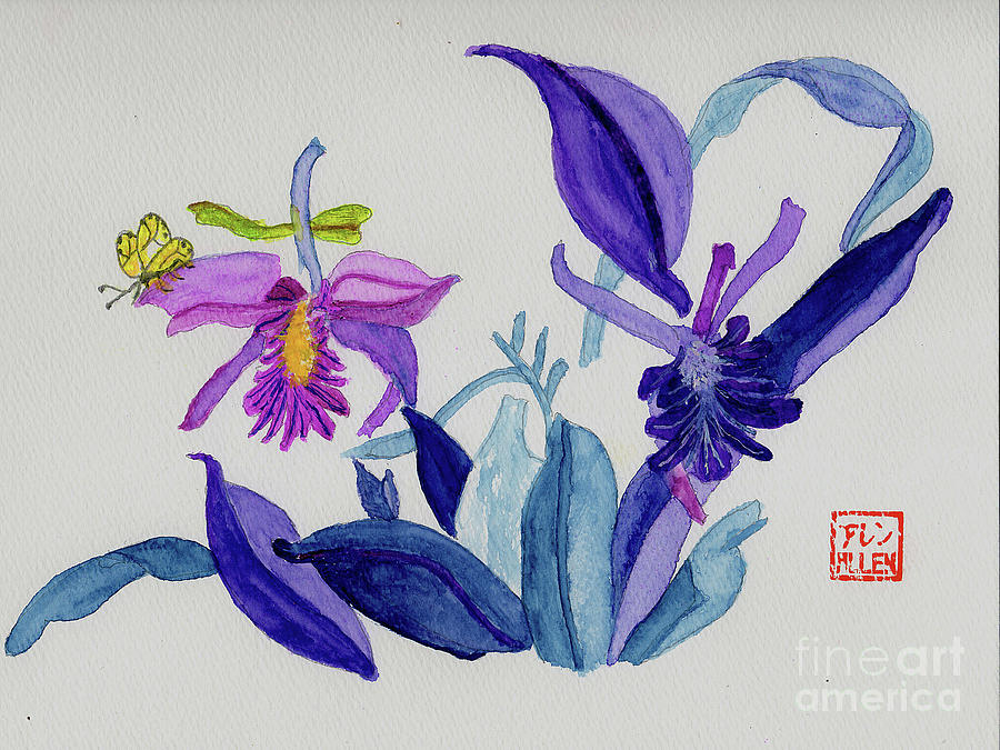 chinese watercolor flowers and butterfly painting by merton allen