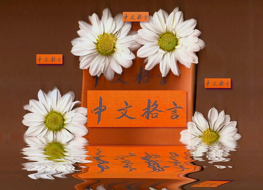 Cardboard Mixed Media - Chinese Wisedom Words by Pepita Selles