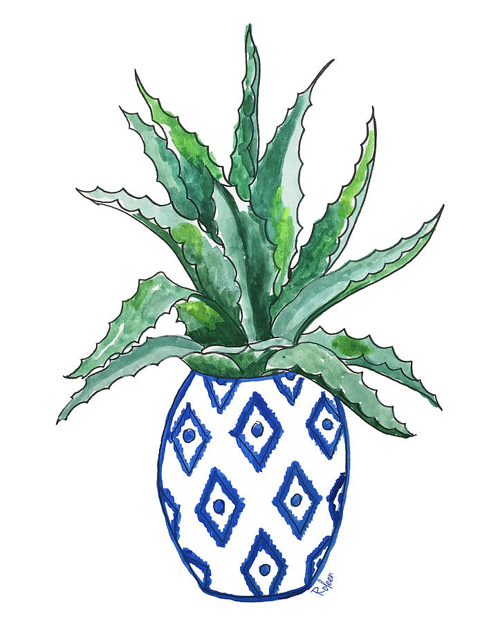 Cactus Painting - Chinoiserie Cactus by Roleen Senic