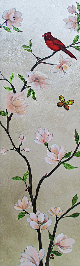 Chinoiserie - Magnolias And Birds #3 Painting