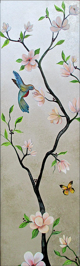Chinoiserie - Magnolias And Birds #5 Painting by Shadia Derbyshire