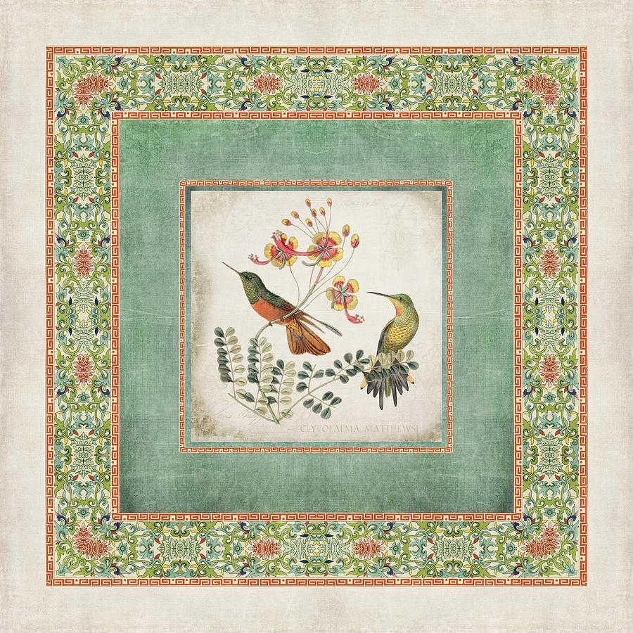 Chinoiserie Digital Art - Chinoiserie Vintage Hummingbirds N Flowers 1 by Audrey Jeanne Roberts
