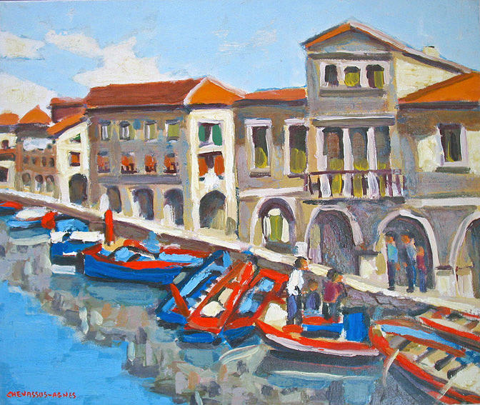 Italy Painting - Chioggia  Market  Italy by Chevassus-agnes Jean-pierre