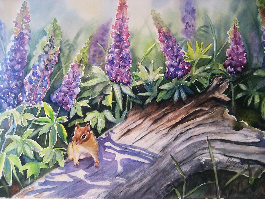 Chipmunk Painting - Chipmunk On Log With Lupine by Patricia Pushaw