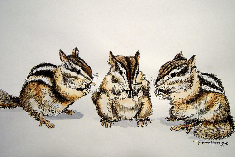 Chipmunks Painting - Chipmunks by Trey Stephens