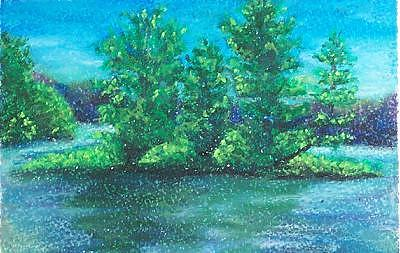 Chippewa Flowage Pastel - Chippewa Flowage Day 2 by JEAN DeLaO