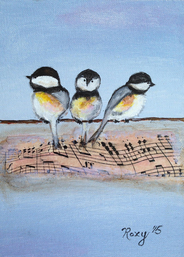Birds Painting - Chirpy Chickadees by Roxy Rich