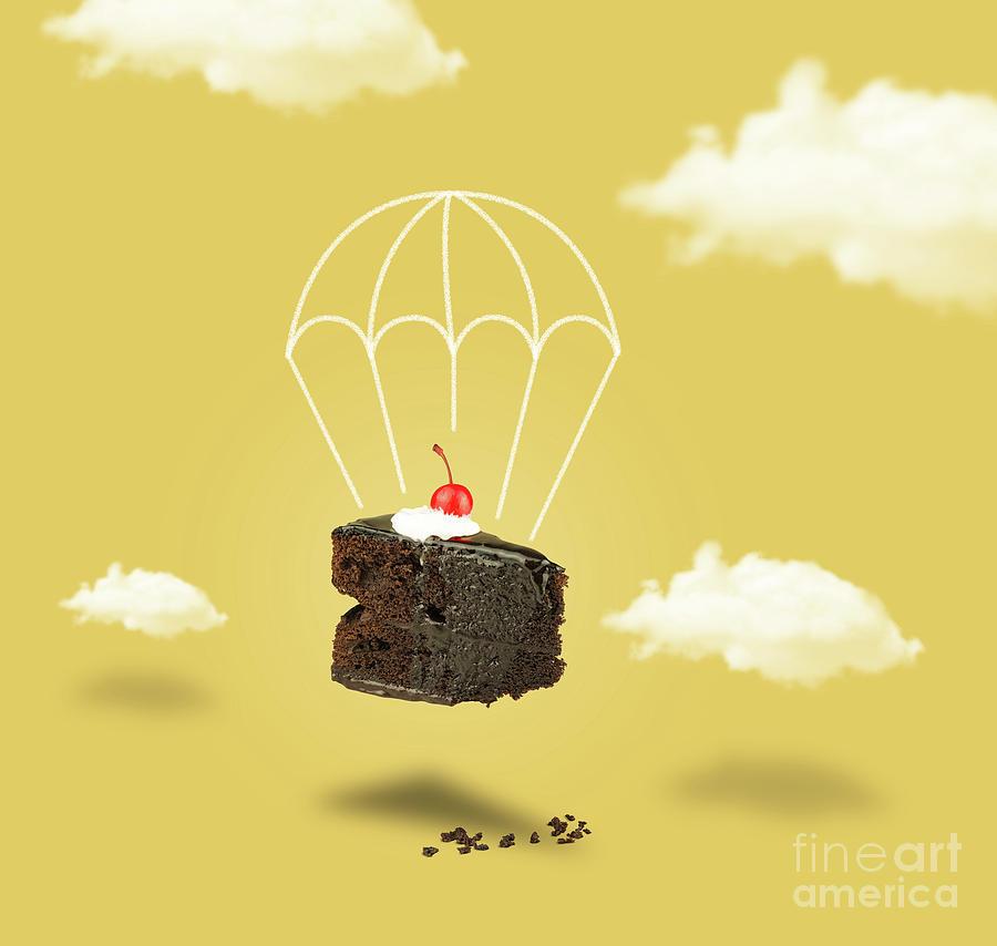 Chocolate Cake Parashute On The Yellow Sky Photograph
