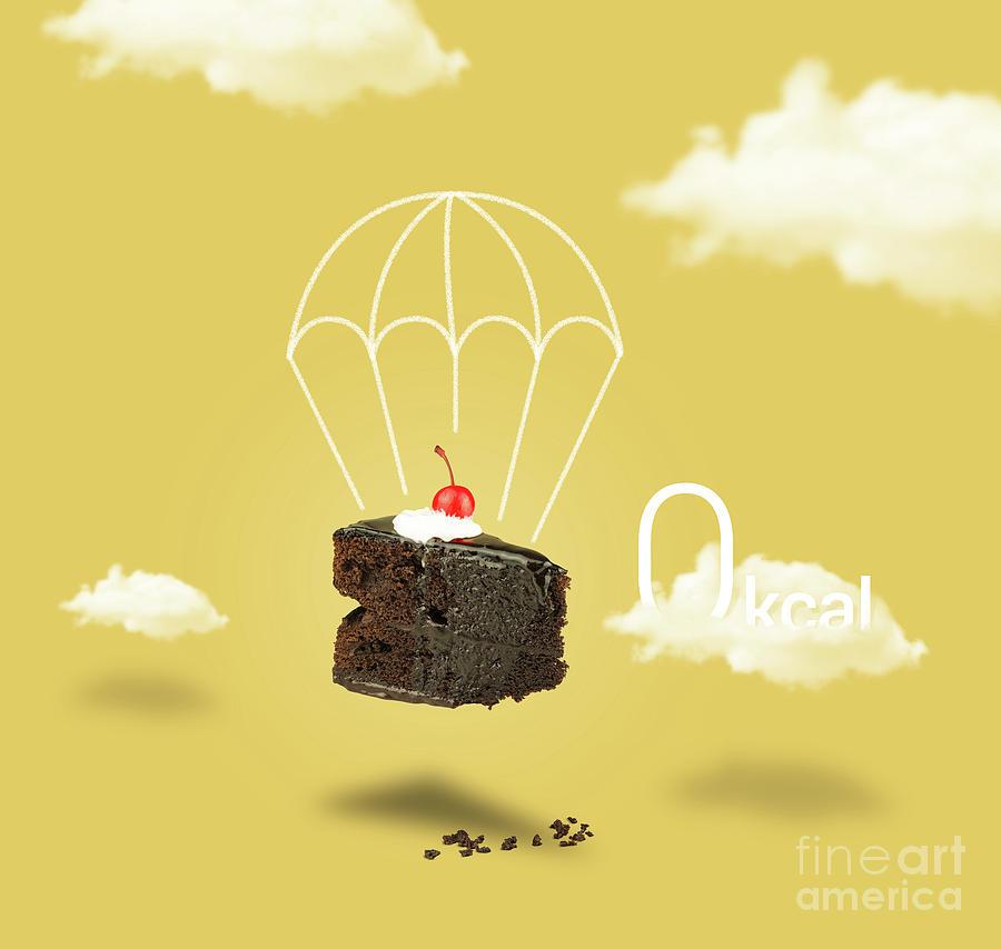 Chocolate Cherry Cake With Parachute On Yellow Sky Photograph