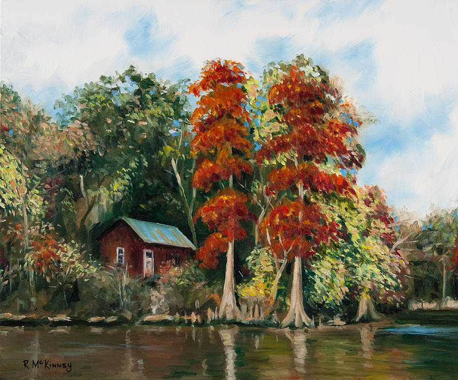 River Painting - Choctawhatchee River Camp by Rick McKinney