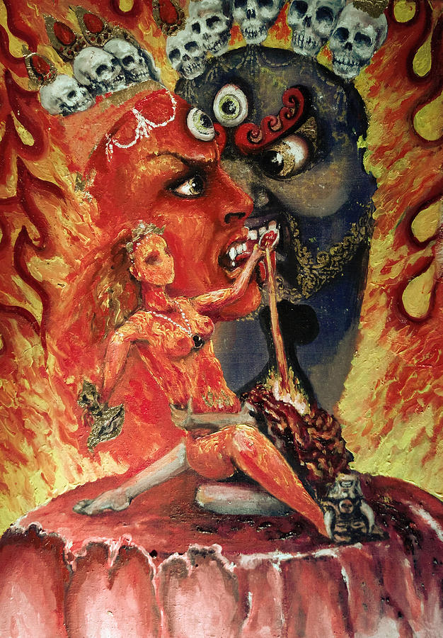 Dakini Painting - Chod Maithuna by Silk Alchemy
