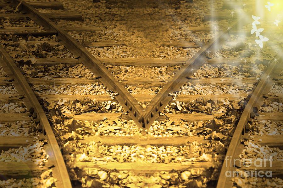 Train Tracks Digital Art - Choice 2 by Cathy  Beharriell