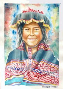Peruvian Girl Painting - Cholita Feliz by Roger Trivinos