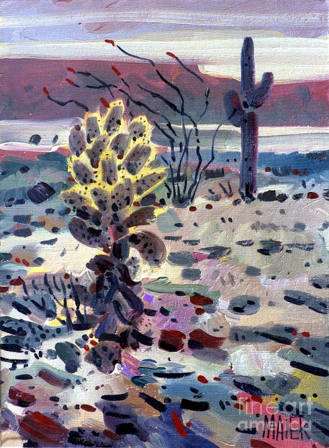 Cholla Painting - Cholla Saguargo And Ocotillo by Donald Maier